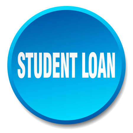 student loan: student loan blue round flat isolated push button Illustration