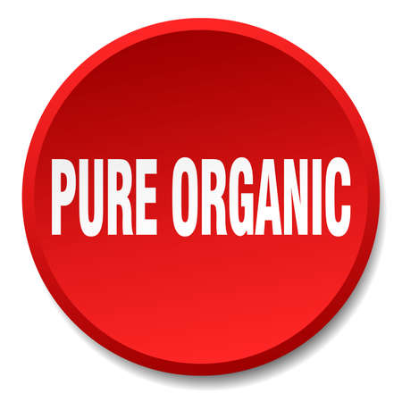 pure: pure organic red round flat isolated push button Illustration
