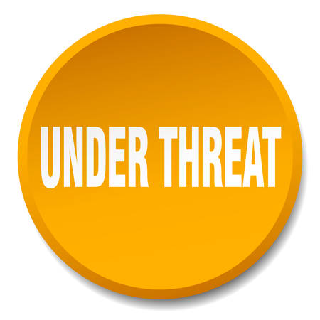 threat: under threat orange round flat isolated push button
