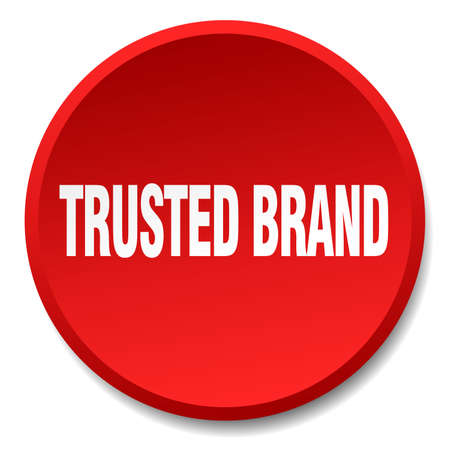 trusted: trusted brand red round flat isolated push button