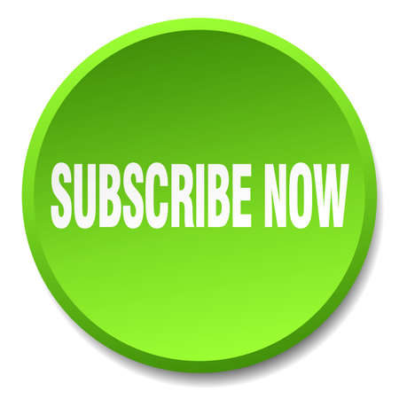 subscribe now: subscribe now green round flat isolated push button