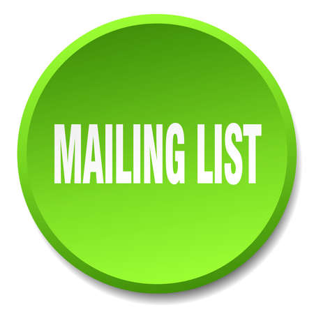 mailing: mailing list green round flat isolated push button