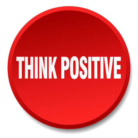 think positive: think positive red round flat isolated push button Illustration