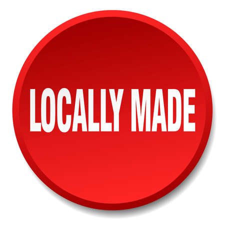 locally: locally made red round flat isolated push button Illustration