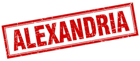 alexandria: Alexandria red square grunge stamp on white Illustration