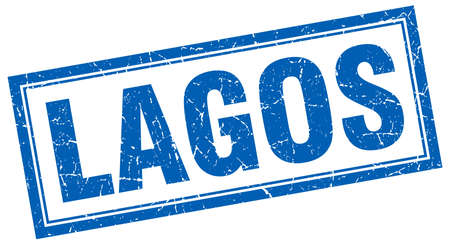 lagos: Lagos blue square grunge stamp on white