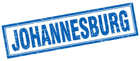 johannesburg: Johannesburg blue square grunge stamp on white