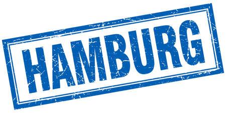 hamburg: Hamburg blue square grunge stamp on white