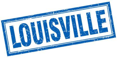 louisville: Louisville blue square grunge stamp on white