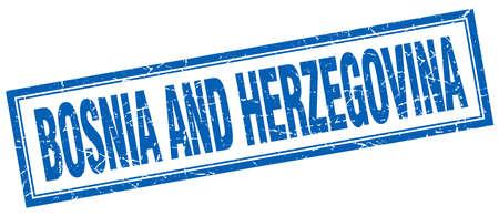 herzegovina: Basnia And Herzegovina blue square grunge stamp on white
