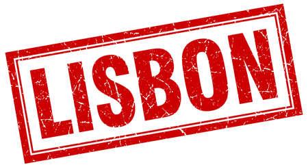 lisbon: Lisbon red square grunge stamp on white