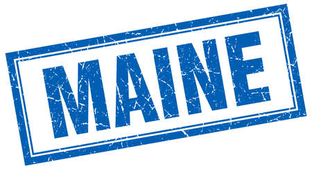 maine: Maine blue square grunge stamp on white
