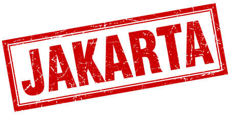 jakarta: Jakarta red square grunge stamp on white