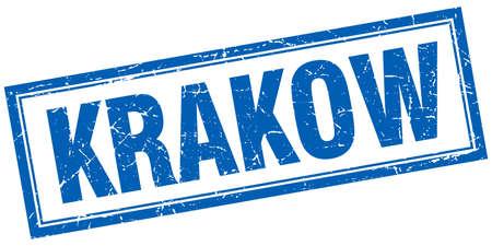 krakow: Krakow blue square grunge stamp on white Illustration