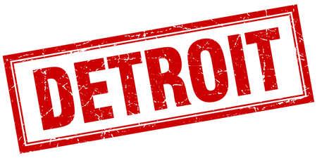 detroit: Detroit red square grunge stamp on white Illustration