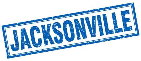jacksonville: Jacksonville blue square grunge stamp on white Illustration
