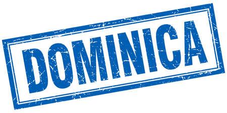 dominica: Dominica blue square grunge stamp on white Illustration