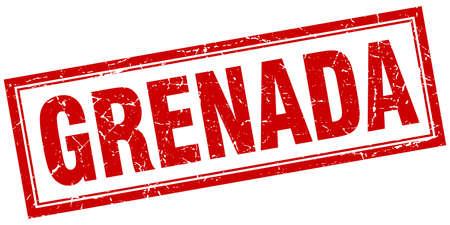 grenada: Grenada red square grunge stamp on white
