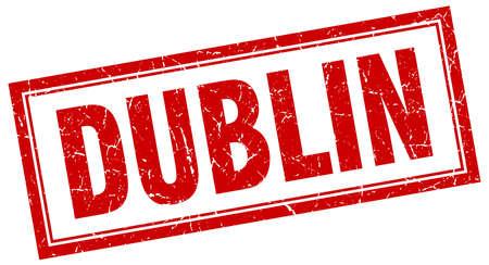 dublin: Dublin red square grunge stamp on white Illustration