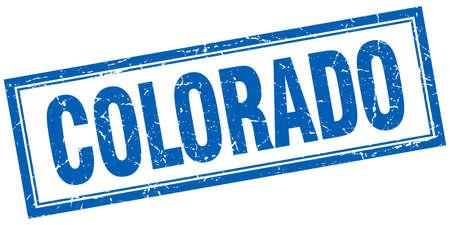 colorado: Colorado blue square grunge stamp on white Illustration