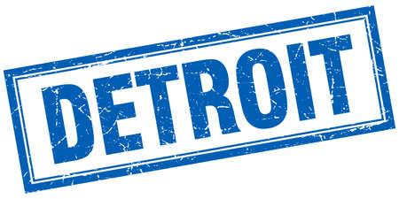 detroit: Detroit blue square grunge stamp on white