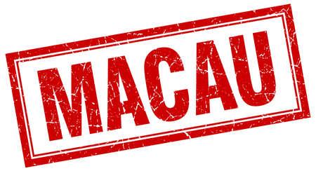 macau: Macau red square grunge stamp on white Illustration