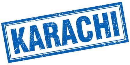 karachi: Karachi blue square grunge stamp on white