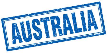 australia stamp: Australia blue square grunge stamp on white