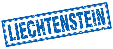 liechtenstein: Liechtenstein blue square grunge stamp on white
