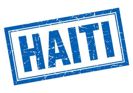 haiti: Haiti blue square grunge stamp on white