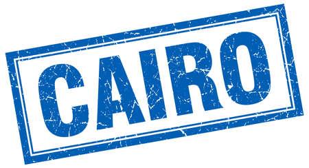 cairo: Cairo blue square grunge stamp on white