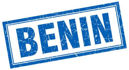 benin: Benin blue square grunge stamp on white