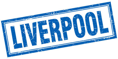 liverpool: Liverpool blue square grunge stamp on white