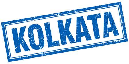 kolkata: Kolkata blue square grunge stamp on white Illustration