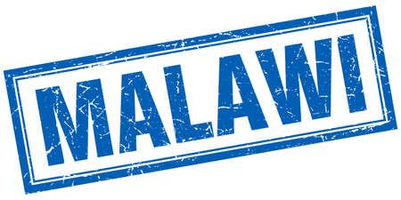 malawi: Malawi blue square grunge stamp on white Illustration