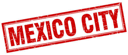 mexico city: Mexico City red square grunge stamp on white Illustration