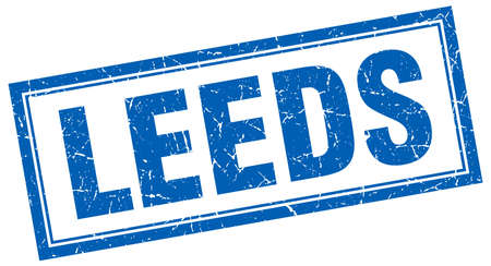 leeds: Leeds blue square grunge stamp on white