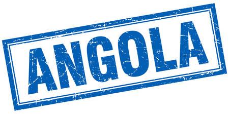 angola: Angola blue square grunge stamp on white Illustration