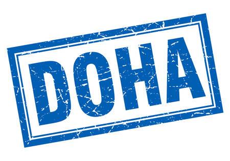 doha: Doha blue square grunge stamp on white