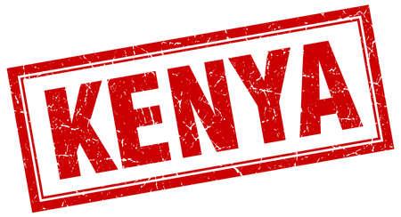 kenya: Kenya red square grunge stamp on white Illustration