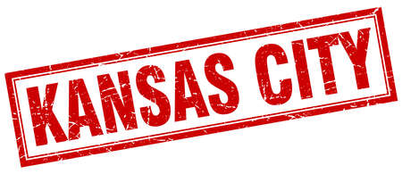KANSAS: Kansas City red square grunge stamp on white Illustration