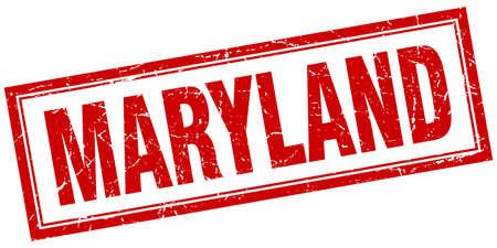 maryland: Maryland red square grunge stamp on white Illustration