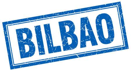 bilbao: Bilbao blue square grunge stamp on white