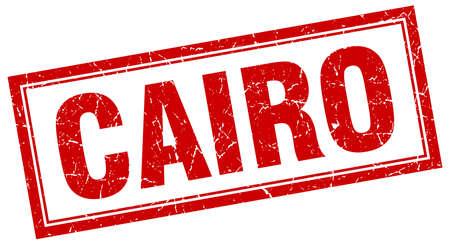 cairo: Cairo red square grunge stamp on white