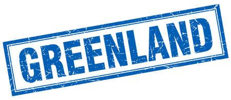 greenland: Greenland blue square grunge stamp on white