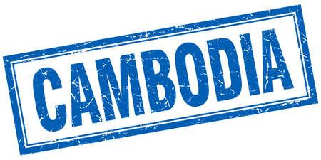 cambodia: Cambodia blue square grunge stamp on white Illustration