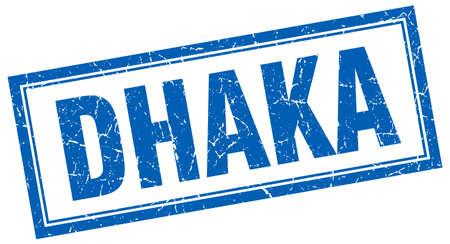 dhaka: Dhaka blue square grunge stamp on white Illustration