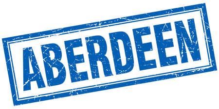 Aberdeen blue square grunge stamp on white