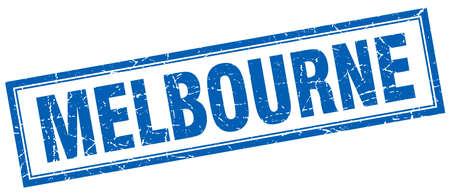 melbourne: Melbourne blue square grunge stamp on white