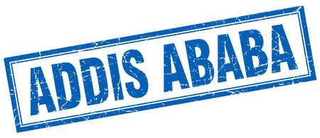 ababa: Addis Ababa blue square grunge stamp on white